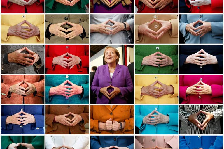 Gesto de losango com as mãos é marca de Angela Merkel