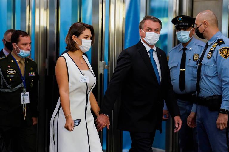 O presidente Jair Bolsonaro e a primeira-dama Michelle Bolsonaro nos EUA