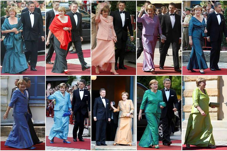 seis fotos de Merkel de vestido longo em diversas cores, como verde, rosa, azul e preto