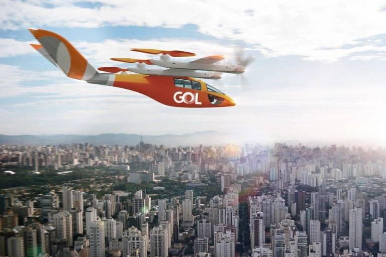 Ilustração de aeronave VA-X4 eVTOL da Gol, que deve entrar em circulação em meados de 2025
