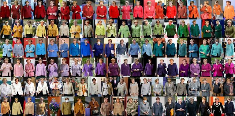 120 fotos de Merkel com várias cores de roupa, de 2004 a 2021