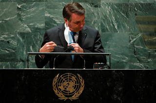 Brazil's President Jair Bolsonaro addresses the 76th Session of the U.N. General Assembly in New York City