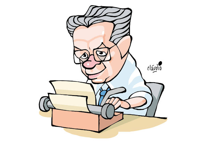 ilustração de homem de óculos e cabelos grisalhos escrevendo em máquina de escrever antiga