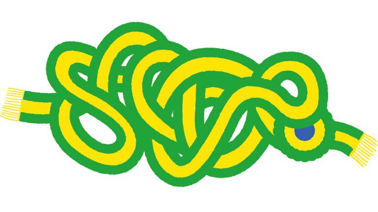 Desenho mostra uma faixa presidencial verde e amarela cheia de nós