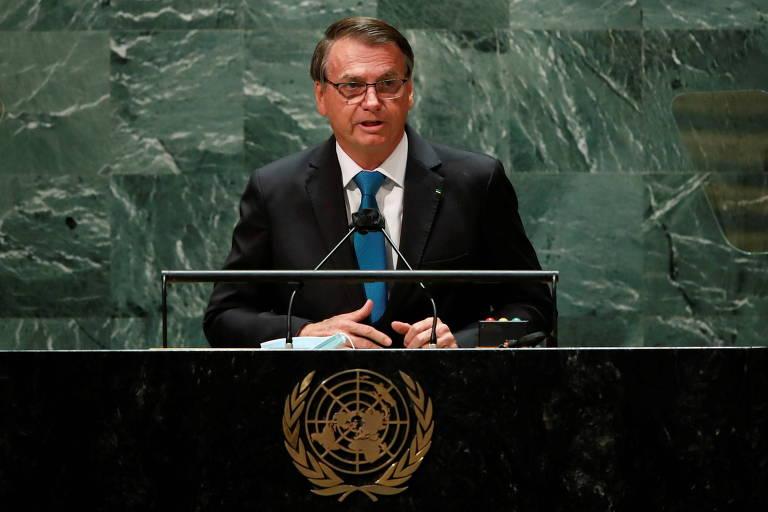 O presidente do Brasil, Jair Bolsonaro, na tribuna da sede das Nações Unidas em Nova York