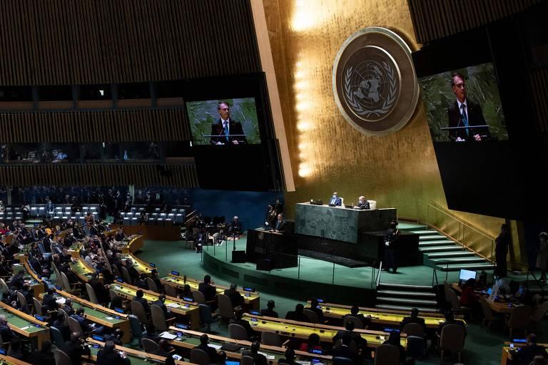 O presidente Jair Bolsonaro discursa na 76ª Sessão da Assembleia Geral da ONU; protocolo dificultou encontro dele com o presidente americano, Joe Biden