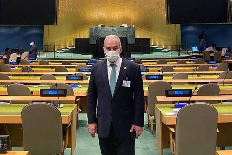 O ministro da Saúde, Marcelo Queiroga, no plenário da Assembleia-Geral da ONU