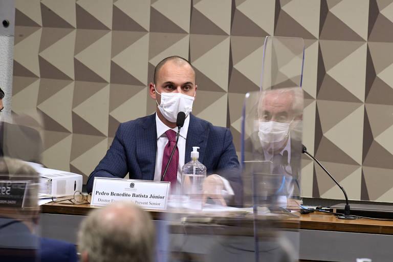 O diretor-executivo da Prevent Senior, Pedro Benedito Batista Júnior, depõe à CPI da Covid