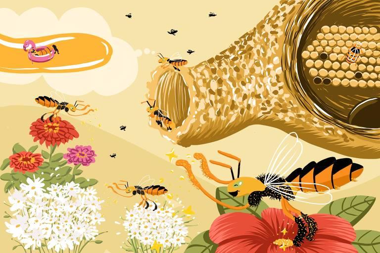 Ilustração mostra abelhas jataí em flores, cobertas de pólen, outras dentro de uma colmeia, outras sonhando com uma piscina de mel