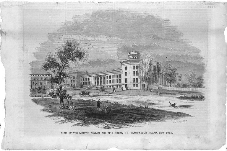 """Paisagem do asilo de lunáticos e hospício em Blackwell's Island, em Nova York (EUA), em ilustração da primeira edição do livro """"Dez Dias Num Hospício"""", de Nellie Bly"""