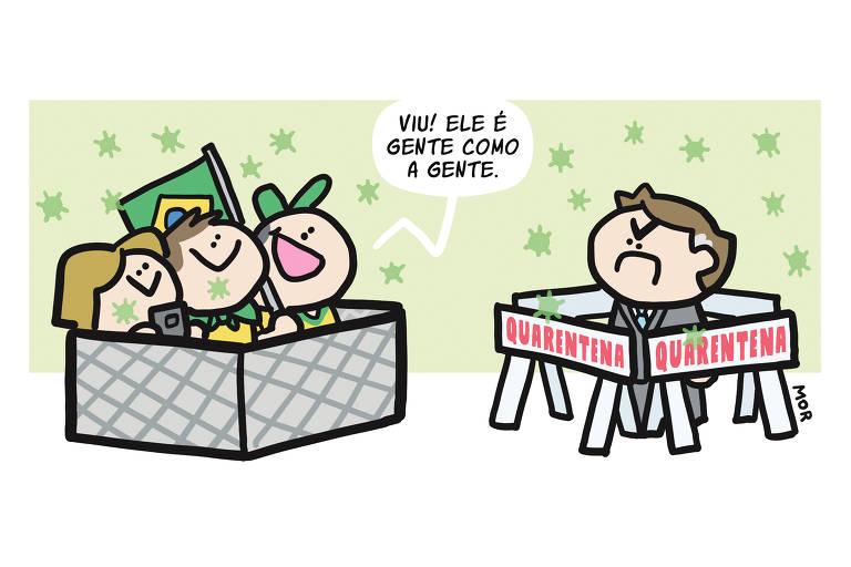 """Charge mostra Jair Bolsonaro, com cara de emburrado, em um cercadinho que traz os dizeres """"quarentena"""". Ao lado, há um outro cercadinho, com três apoiadores do presidente. Um deles segura a bandeira do Brasil e outro afirma: """"Viu! Ele é gente como a gente""""."""
