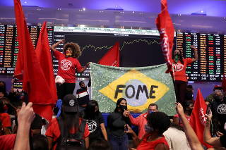 Roofless Workers Movement (MTST) protest at Brazil's B3 Stock Exchange