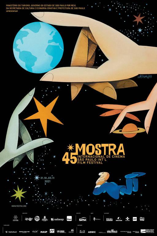 Cartaz da 45ª Mostra Internacional de Cinema de São Paulo, com arte de Ziraldo