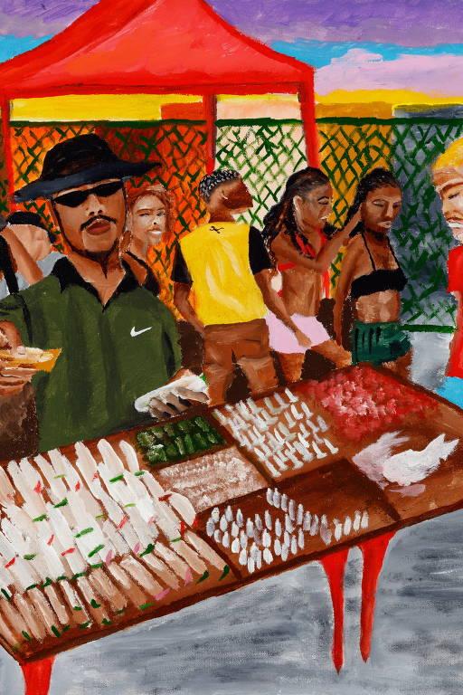 Veja obras de Jota, artista do subúrbio carioca que retrata o seu cotidiano em pinturas