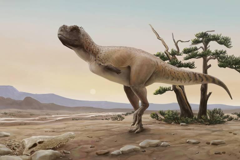 Desenho de um dinossauro marrom com braços muito curtos em uma paisagem com areia no chão e pouca vegetação no entorno