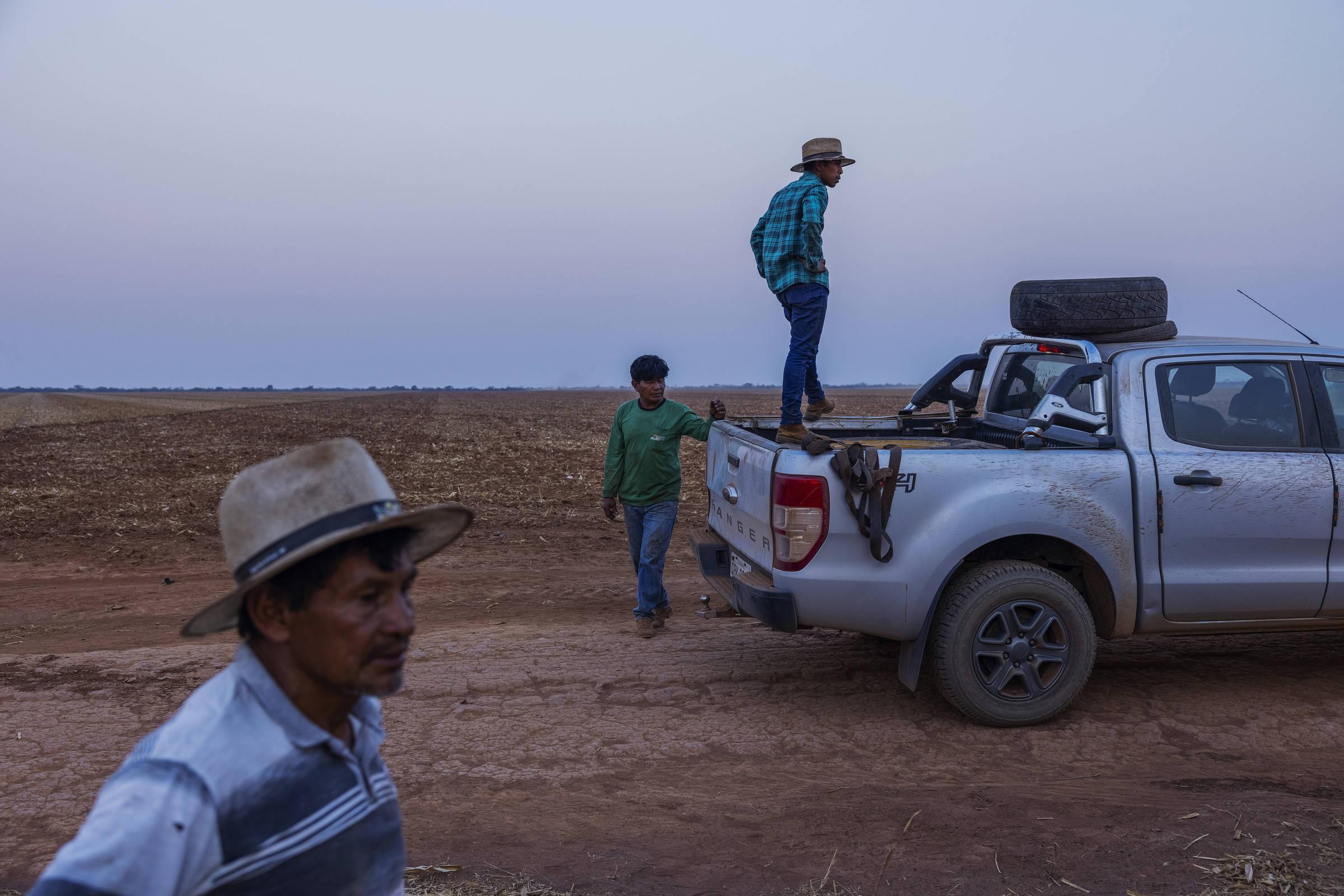 Manokis responsáveis pela lavoura mecanizada na Terra Indígena Irantxe observam a movimentação de tratarores jogando calcário para equilibrar o solo na preparação para o plantio