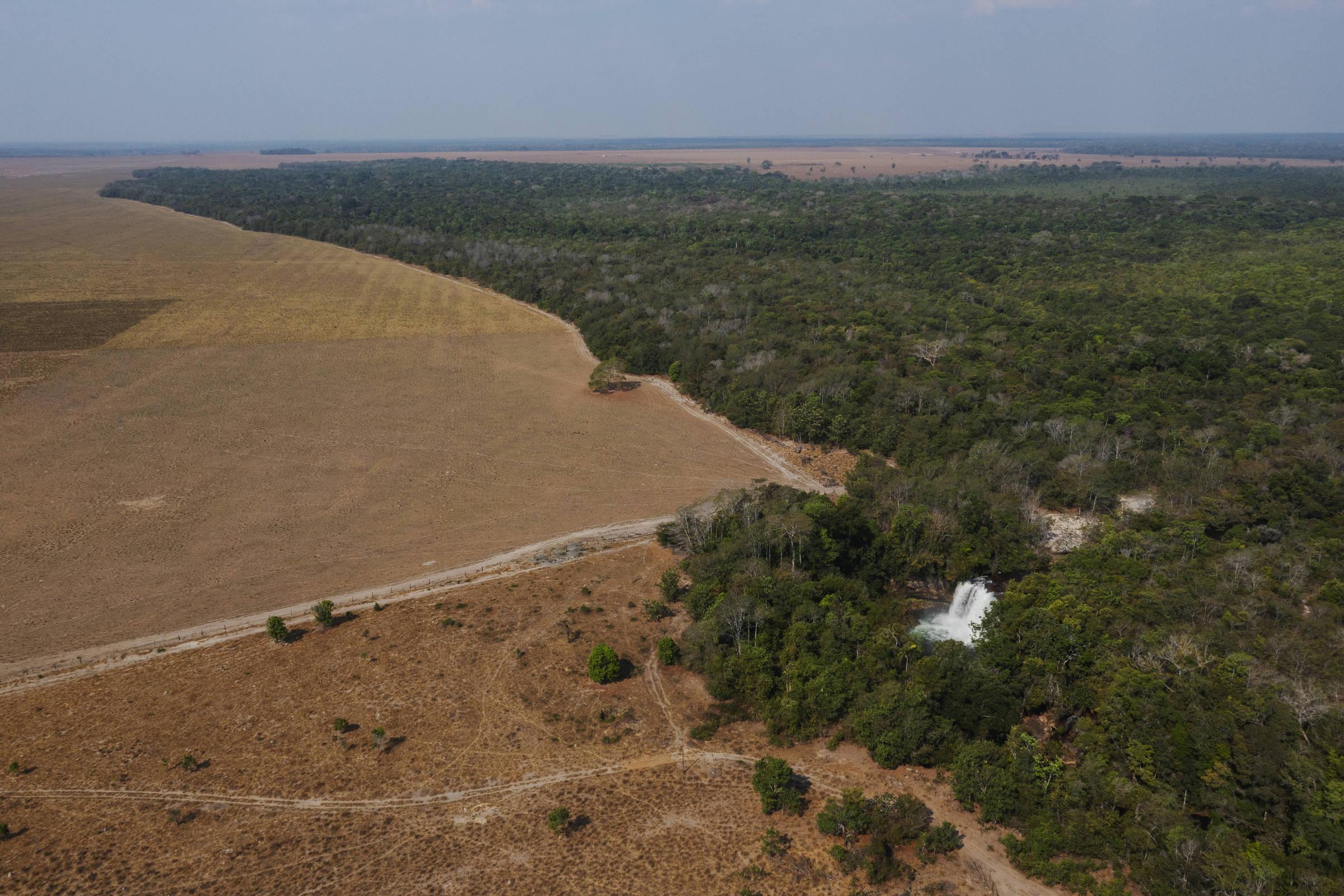 Cachoeiras do rio Cravari na Terra Indígena Irantxe, proximas ao limite com uma fazenda