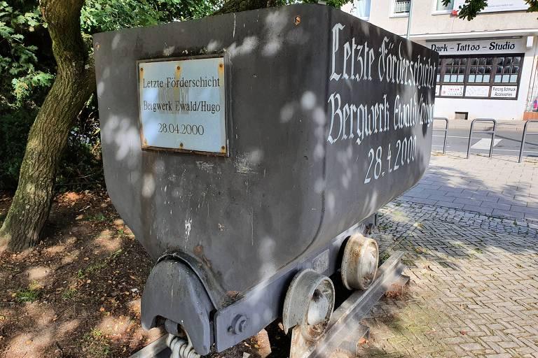 Carrinho da mina Ewald-Hugo, a última a fechar na cidade de Gelsenkirchen, no oeste da Alemanha; ela funcionou até o ano 2000
