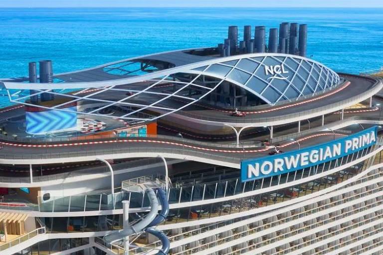 Navio Norwegian Prima oferece pista de corrida e primeiro escorregador seco em queda livre no mar