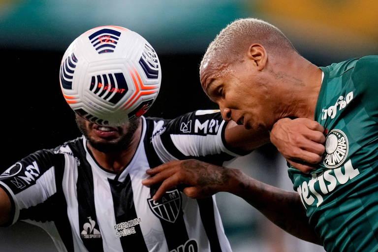 Lance do jogo de ida entre Palmeiras e Atlético-MG, na semifinal da Libertadores
