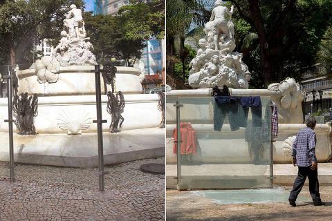 SÃO PAULO, SP, BRASIL, 15-05-2013: Cidades: Fonte recém inaugurada, na praça Júlio de Mesquita, em São Paulo (SP). (Foto: Robson Ventura/Folhapress)/// 27-09-2021 - FONTE PRAÇA JULIO MESQUITA - Fonte da Praça Julio de Mesquita está toda detonada. vidros quebrados e vandalismo por toda parte. (Foto: Ronny Santos/Folhapress