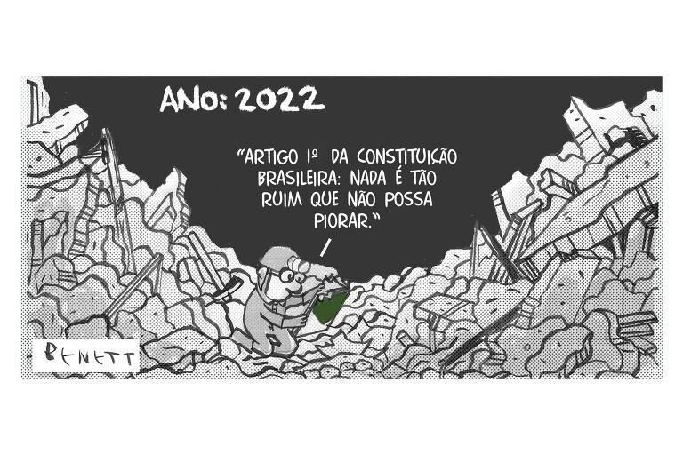 """Charge com o título """"Ano: 2022"""" mostra uma pessoa com roupa de minerador, em meio a escombros, com a Constituição na mão. Ele lê: """"Artigo 1º da Constituição brasileira: nada é tão ruim que não possa piorar""""."""