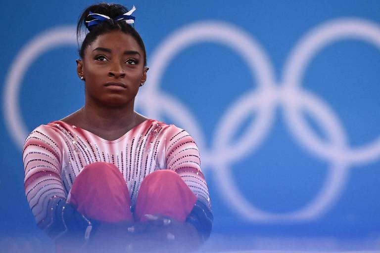 Simone Biles durante as Olimpíadas