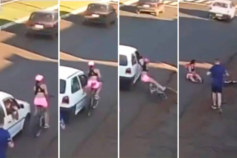Homem dentro de carro passa a mão em mulher e a derruba de bicicleta; veja vídeo
