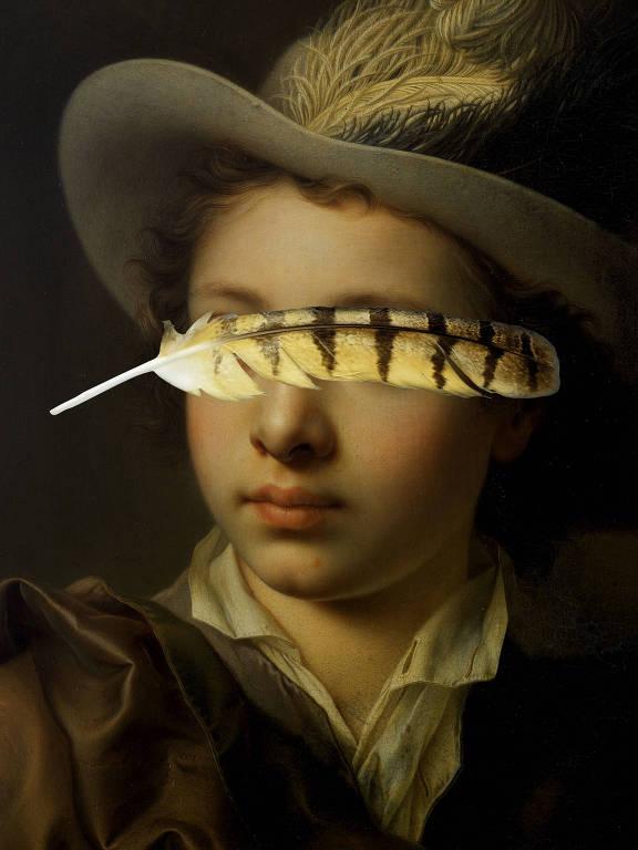 pintura de menino de chapéu com pena escondendo seus olhos