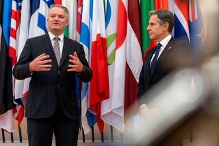 U.S. Secretary of State Antony Blinken meets with Secretary-General of OECD Mathias Cormann at OECD headquarters in Paris