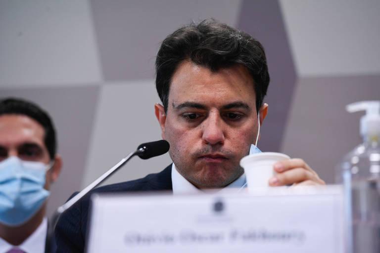 O empresário bolsonarista Otávio Fakhoury durante depoimento à CPI da Covid