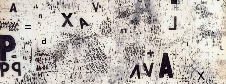 Embora não tenha discutido linguagem neutra em sua obra, Mira Schendel empregou nas monotipias que ilustram esta reportagem uma série de idiomas distintos
