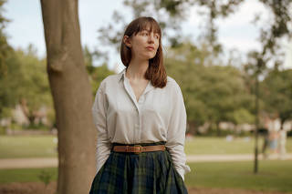 Sally Rooney in Merrion Square in Dublin on July 24, 2021. (Ellius Grace/The New York Times)