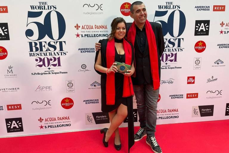 Janaína e Jefferson Rueda, d'A Casa do Porco, no tapete vermelho da premiação do World's 50 Best, em Antuérpia, na Bélgica