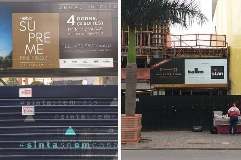 Imagem dividida ao meio mostra duas placas divulgando empreendimentos de alto padrão em Pinheiros