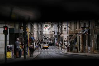 A tram is seen in downtown Lisbon