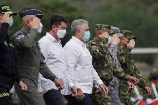Colombia's President Ivan Duque attends the inauguration of a new military unit, in Cucuta