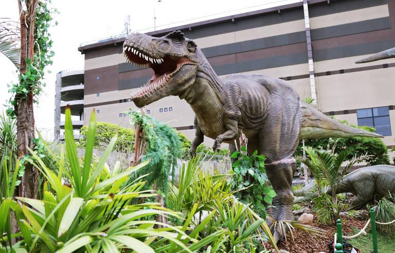 Imagem da menor versão de tiranossauro rex em exposição no T-Rex Park