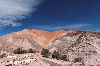 A general view of the Cerro de los Siete Colores, behind the city of Purmamarca, Jujuy