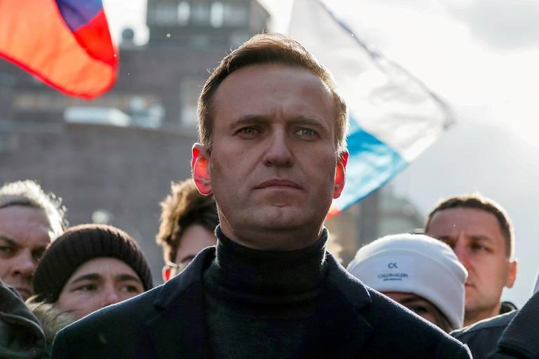 O opositor do Kremlin Alexei Navalni participa de protesto em Moscou