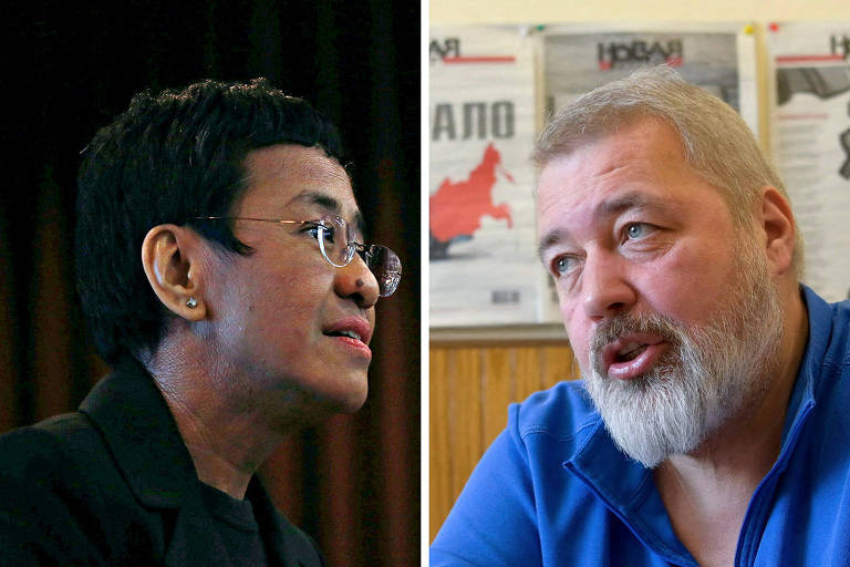 Rappler CEO and Executive Editor Maria Ressa is pictured in an event attended by law students at the University of the Philippines College of Law in Quezon City, Metro Manila, Philippines, March 12, 2019. Picture taken March 12, 2019. REUTERS/Eloisa Lopez ORG XMIT: HFS-GGGEAL08 E Russian investigative newspaper Novaya Gazeta's editor-in-chief Dmitry Muratov attends an interview with AFP in Moscow on March 24, 2021. (Photo by Natalia KOLESNIKOVA / AFP)
