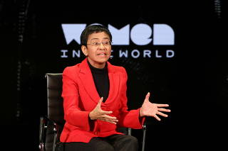 FILE PHOTO: Filipino journalist Maria Ressa takes part in the Women In The World Summit in New York