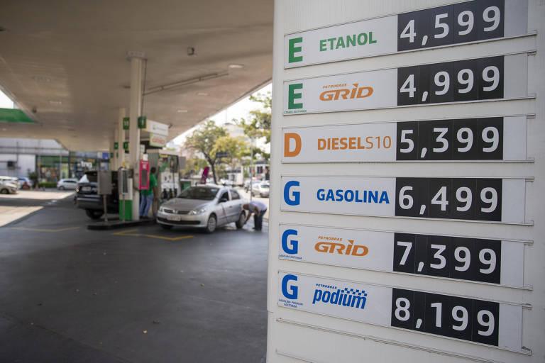 Preço da gasolina em posto de combustível em São Paulo no mês de setembro