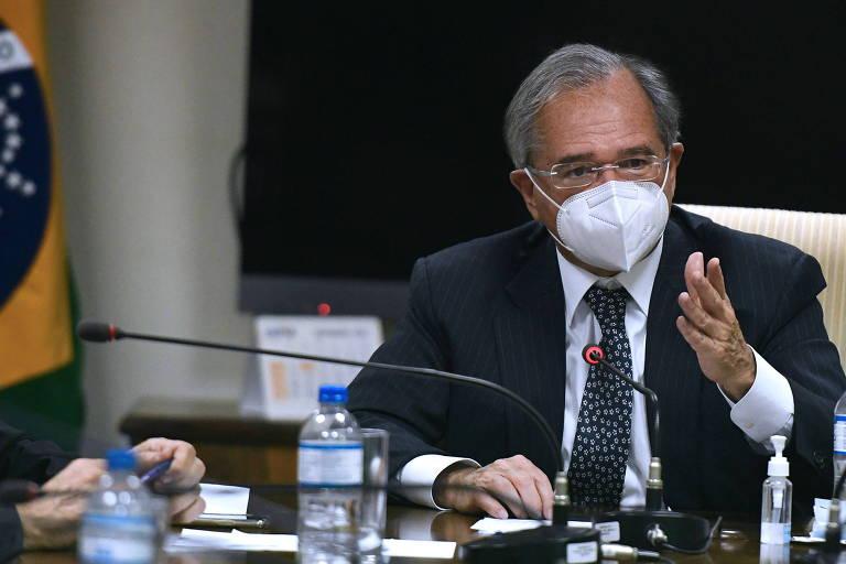 Ministro da Economia, Paulo Guedes, em audiência no Instituto Unidos pelo Brasil