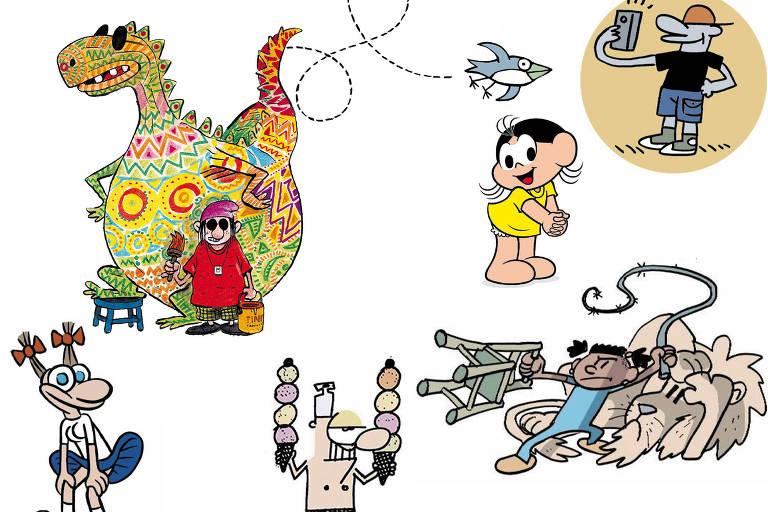 Kiki (Adão), Ozzy (Angeli), Tirex (Angeli), Geraldinho (Glauco), Andorinha (Laerte), Magali (Maurício), Suriá (Laerte) e o Zezo (Adão)