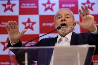 Former Brazilian President Luiz Inacio Lula da Silva speaks during a news conference in Brasilia
