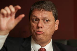 Brazil's Minister of Infrastructure Tarcisio Freitas gestures as he speaks during an interview with Reuters in Sao Paulo