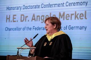 German Chancellor Angela Merkel receives an honorary Doctorate