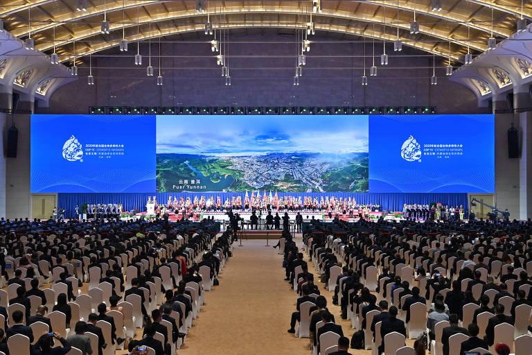 Cerimônia de abertura da COP15 em Kunming, sudoeste da China