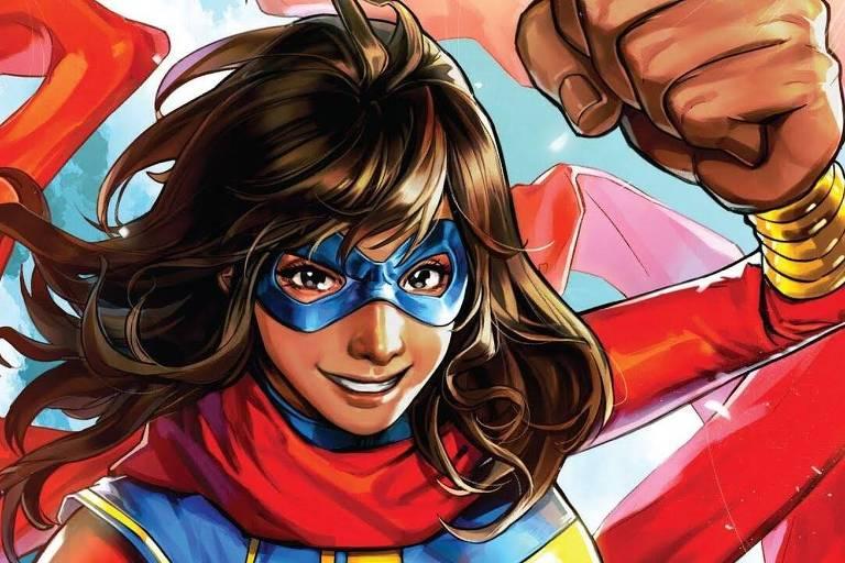 Ilustração da heroína Miss Marvel, identidade secreta de Kamala Khan, da Marvel
